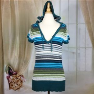 Sonoma Striped Short Sleeved Sweater Hoodie